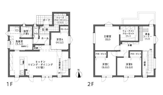 LDK17畳 実例 間取り図