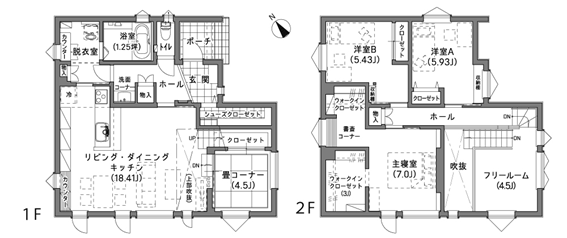 LDK18.41畳 実例 間取り図