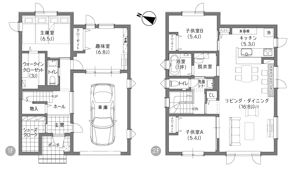 シューズクロークの施工事例間取り図(A様邸)