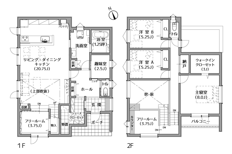 シューズクロークの施工事例間取り図(I様邸)